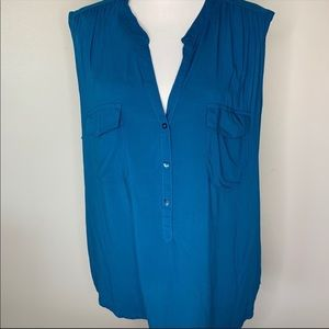 Old Navy teal sleeveless blouse